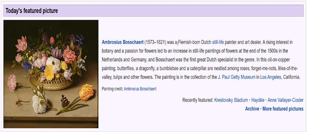 Wikipedia screenshot showing a picture left justified with the section title acting as a caption.