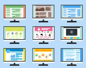 Graphic showing webpage templates used to help the design and writing process.